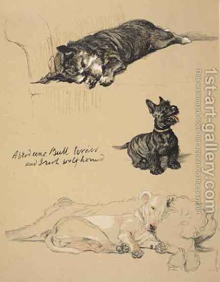 Aberdeens, Bull-Terrier and Irish Wolfhound by Cecil Charles Aldin - Reproduction Oil Painting