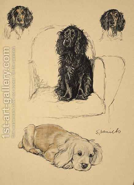 Spaniels by Cecil Charles Aldin - Reproduction Oil Painting