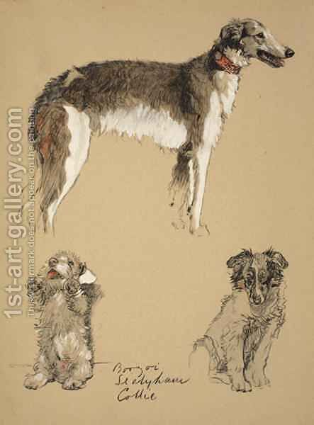 Barzoi, Sealyham and Collie by Cecil Charles Aldin - Reproduction Oil Painting