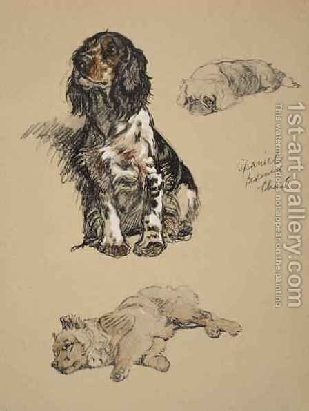 Spaniel, Pekinese and Chow by Cecil Charles Aldin - Reproduction Oil Painting