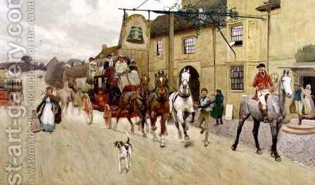 The Great North Road, The Bell at Stilton by Cecil Charles Aldin - Reproduction Oil Painting