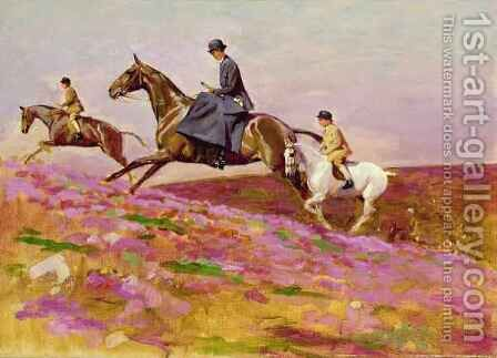 Lady Currie with her sons Bill and Hamish Hunting on Exmoor by Cecil Charles Aldin - Reproduction Oil Painting