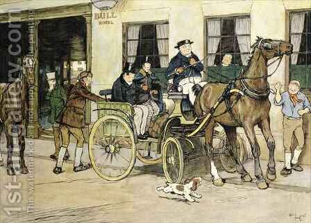 The Pickwickians start from the Bull Hotel at Rochester 2 by Cecil Charles Aldin - Reproduction Oil Painting