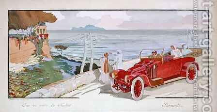 'On the road to Naples', advertisement for Renault motor cars by Aldelmo - Reproduction Oil Painting