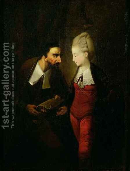 Portia and Shylock from 'The Merchant of Venice' Act IV, scene i by Edward Alcock - Reproduction Oil Painting