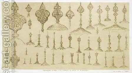 Ornamental knobs shaped as domes and minarets, from 'Art and Industry' by (after) Albanis de Beaumont, Jean Francois - Reproduction Oil Painting