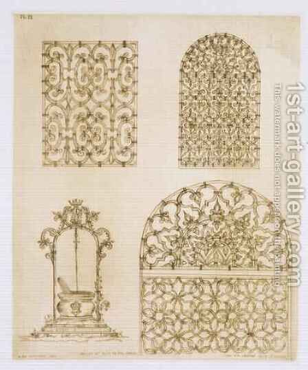 Islamic ironwork grills for windows and wells, from 'Art and Industry' by (after) Albanis de Beaumont, Jean Francois - Reproduction Oil Painting