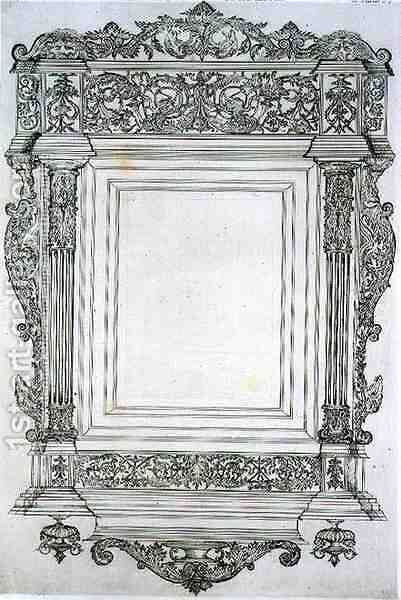 Carved wooden mirror frame, from 'Art and Industry' by (after) Albanis de Beaumont, Jean Francois - Reproduction Oil Painting