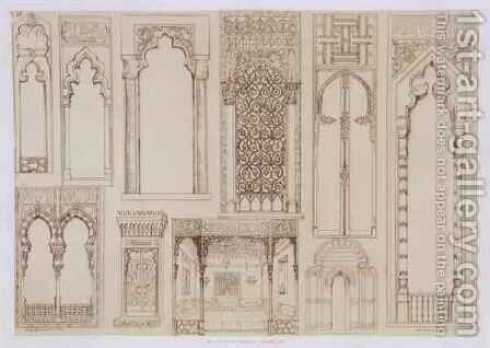 Islamic and Moorish design for shutters and divans, from 'Art and Industry' by (after) Albanis de Beaumont, Jean Francois - Reproduction Oil Painting