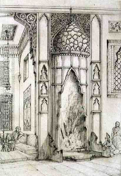 Fireplace in the Palace of the Seven Towers, in Isfahan, from 'Art and Industry' by (after) Albanis de Beaumont, Jean Francois - Reproduction Oil Painting