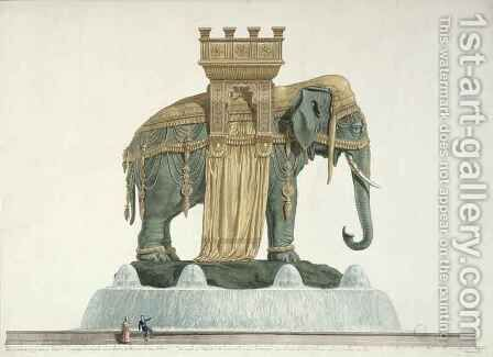 Design for the Elephant Fountain at the Place de la Bastille by Jean Antoine Alavoine - Reproduction Oil Painting