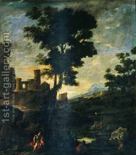 Landscape with Leto and the peasants transformed into frogs by Benito-Manuel de Aguero - Reproduction Oil Painting