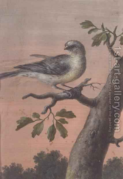 A Bird on a Branch by Christoph Ludwig Agricola - Reproduction Oil Painting