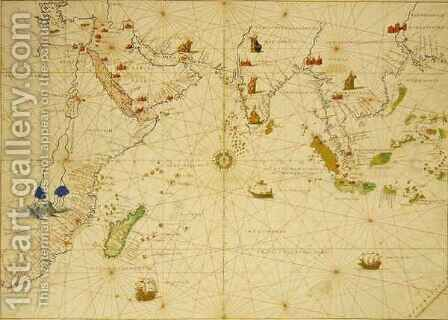 The Indian Ocean, from an Atlas of the World in 33 Maps, Venice by Christoph Ludwig Agricola - Reproduction Oil Painting