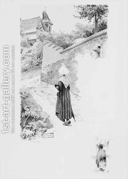 The servant Felicite, illustration from 'Un coeur simple' by Gustave Flaubert (1821-80) by (after) Adan, Louis Emile - Reproduction Oil Painting