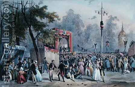 The 'Fete de Roi' at the Champs-Elysees, Paris by (after) Adam, V. - Reproduction Oil Painting