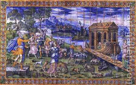 Tile depicting the Story of Noah Embarking in the Ark by Masseot Abaquesne - Reproduction Oil Painting