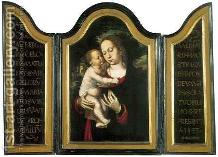 Triptych of Madonna with Child by Ambrosius Benson - Reproduction Oil Painting