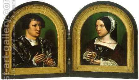 Portrait of Cornelius de Schepper and his Wife by Ambrosius Benson - Reproduction Oil Painting