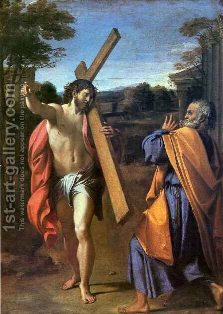 Christ appearing to Saint Peter on the Appian Way by Annibale Carracci - Reproduction Oil Painting