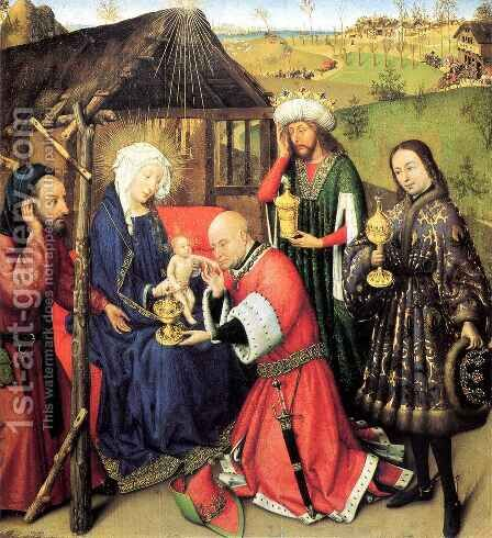 Adoration of the Magi by Jacques Daret - Reproduction Oil Painting