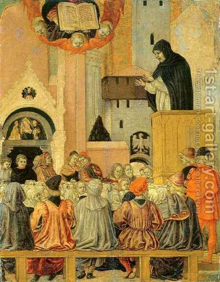 Dominican Preaching by Agnolo degli Erri - Reproduction Oil Painting