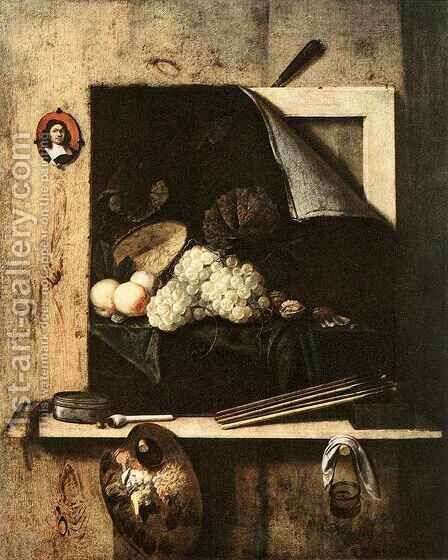 Still Life with Self Portrait by Cornelis Gijbrechts - Reproduction Oil Painting
