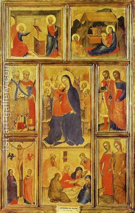 Virgin and Child Enthroned by Giovanni Da Milano - Reproduction Oil Painting