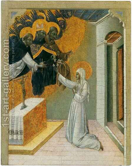 Saint Catherine Invested with the Dominican Habit by Giovanni di Paolo - Reproduction Oil Painting