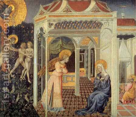 Annunciation and the Expulsion from the Paradise by Giovanni di Paolo - Reproduction Oil Painting