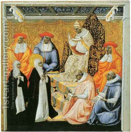 Saint Catherine Dictating Her Dialogues to Raymond of Capua by Giovanni di Paolo - Reproduction Oil Painting