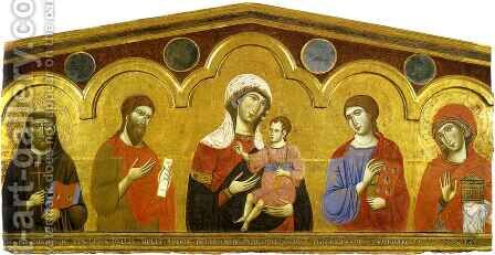 Madonna and Child with Saints by Guido Da Siena - Reproduction Oil Painting
