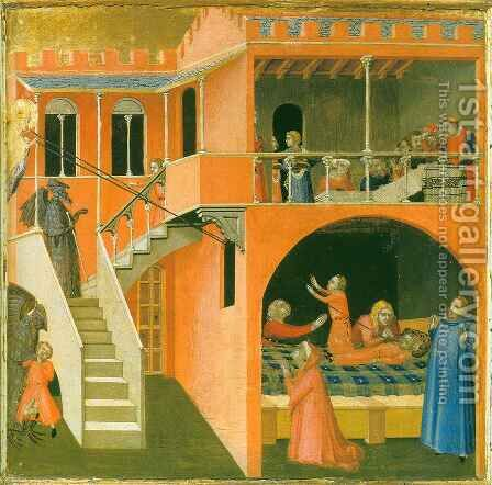 Saint Nicolas bringing a Child back to Life by Ambrogio Lorenzetti - Reproduction Oil Painting