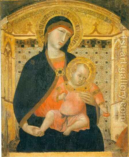 Madonna and Child with Cherries by Ambrogio Lorenzetti - Reproduction Oil Painting