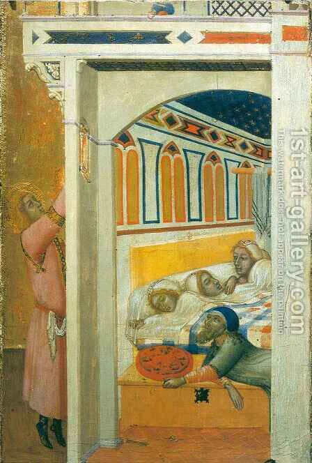 Saint Nicolas giving the Poor Girls their Dowry 2 by Ambrogio Lorenzetti - Reproduction Oil Painting