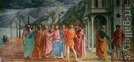 Brancacci chapel Tribute Money by Masaccio (Tommaso di Giovanni) - Reproduction Oil Painting