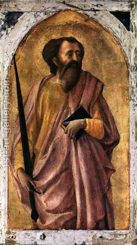 Pisa polyptych St Paul by Masaccio (Tommaso di Giovanni) - Reproduction Oil Painting