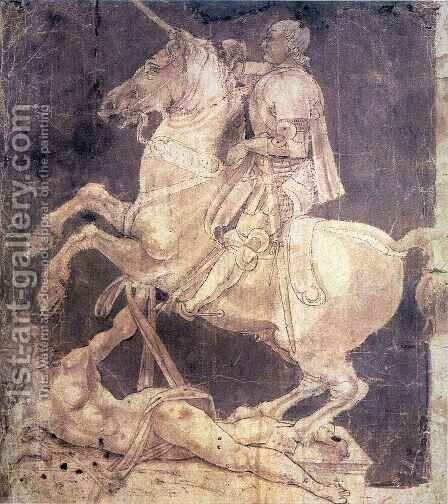 Study for an Equestrian Monument to Francesco Sforza 2 by Antonio Del Pollaiuolo - Reproduction Oil Painting