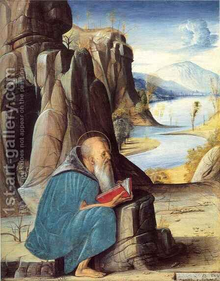 Saint Jerome Reading by Alvise Vivarini - Reproduction Oil Painting