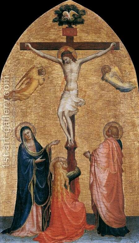 Crucifixion with the Virgin, John the Evangelist, and Mary Magdelene by Angelico Fra - Reproduction Oil Painting