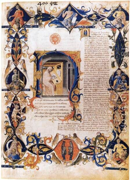 Inferno, from the Divine Comedy by Dante (Folio 3v) by Bartolomeo Di Fruosino - Reproduction Oil Painting