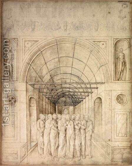 The Twelve Apostles in a Barrel Vaulted Passage by Jacopo Bellini - Reproduction Oil Painting
