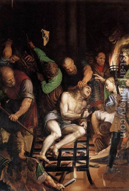 The Martyrdom of St Lawrence by Antonio Campi - Reproduction Oil Painting