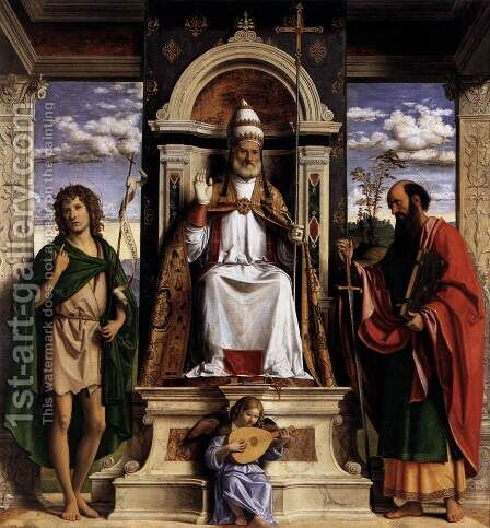 St Peter Enthroned with Saints by Giovanni Battista Cima da Conegliano - Reproduction Oil Painting
