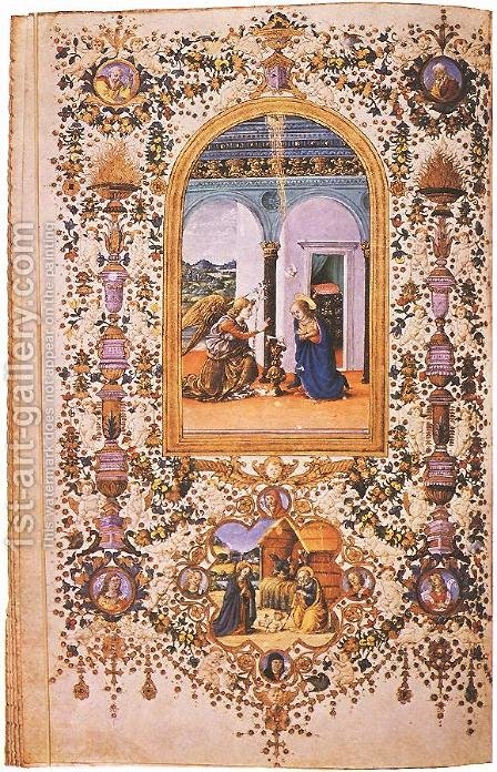 Prayer Book of Lorenzo de' Medici by d'Antonio del Chierico (or Cherico) Francesco - Reproduction Oil Painting