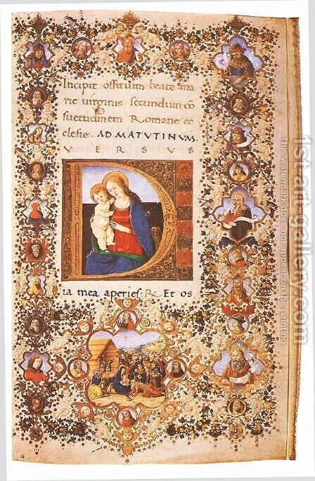 Prayer Book of Lorenzo de' Medici 2 by d'Antonio del Chierico (or Cherico) Francesco - Reproduction Oil Painting