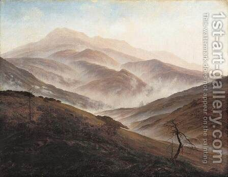Riesengebirge Landscape with Rising Fog by Caspar David Friedrich - Reproduction Oil Painting