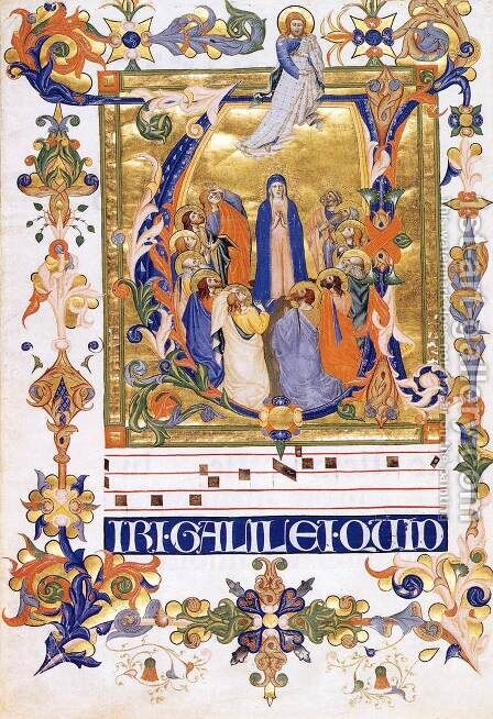 Gradual 2 for San Michele a Murano (Folio 44) by Don Silvestro Dei Gherarducci - Reproduction Oil Painting