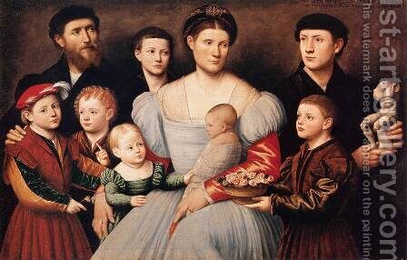Portrait of Arrigo Licinio and His Family by Bernardino Licinio - Reproduction Oil Painting