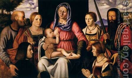 Virgin and Child with Saints and Donors by Bernardino Luini - Reproduction Oil Painting